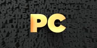 PC - guld- text på svart bakgrund - 3D framförd fri materielbild för royalty Stock Illustrationer