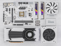 PC hardware components on white wood. 3d rendering Stock Photos
