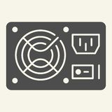 PC hardware element solid icon. Uninterruptible power supply vector illustration isolated on white. Voltage glyph style. Design, designed for web and app. Eps vector illustration