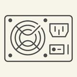 PC hardware element thin line icon. Uninterruptible power supply vector illustration isolated on white. Voltage outline. Style design, designed for web and app royalty free illustration