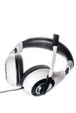 Pc headphones with microphone side view on white stock photo