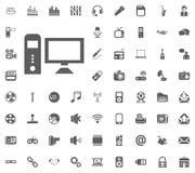 PC icon. Media, Music and Communication vector illustration icon set. Set of universal icons. Set of 64 icons.  stock illustration