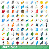 100 pc icons set, isometric 3d style Stock Image