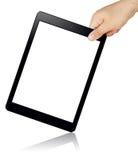 PC inclinada tenencia de la tableta de la pantalla en blanco de la mano aislada Foto de archivo