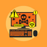 Pc infection. Picture of computer with skull, bugs on its screen and danger signs, flat style illustration, spyware, virus infection concept Stock Photos