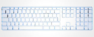 PC Keyboard  (3D xray blue) Stock Photography