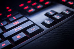 PC keyboard of black color closeup view Stock Photos