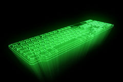 PC Keyboard in Hologram Wireframe Style. Nice 3D Rendering Royalty Free Stock Photos