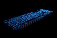 PC Keyboard in Hologram Wireframe Style. Nice 3D Rendering Stock Photo