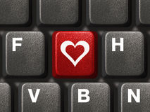 PC keyboard with love key Royalty Free Stock Photo