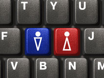 PC keyboard with male and female keys Stock Images