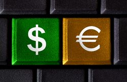PC keyboard with two money keys Royalty Free Stock Images