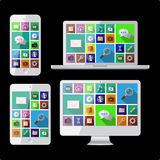 PC, laptop, tablet and cell phone Royalty Free Stock Photography