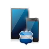 PC móvil de la tableta y un smartphone protegido. libre illustration