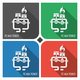 PC max power flat vector icon on colorful background. simple PC web icons eps8. Stock Photos