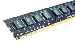 PC memory bank DDR3 on white background. Stock Image