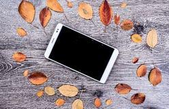 PC moderna blanca de la tableta con la pantalla vacía en blanco en el fondo de madera del vintage rústico con las hojas de otoño Imágenes de archivo libres de regalías