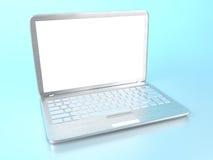 PC moderna del ordenador portátil en la tabla de cristal Imagenes de archivo