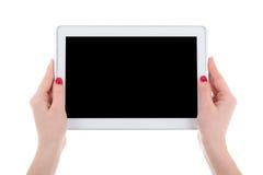 Pc moderno della compressa con lo schermo vuoto in mani femminili isolate su w Immagine Stock Libera da Diritti
