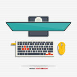 Pc monitor, keyboard, mouse and USB flash drive Stock Photo