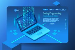 Pc monitor with program coding data. Coding concept with program processing data on pc monitor. Isometric images. Vector design of data coding concept. Blue Stock Photo