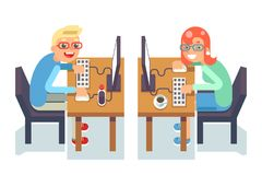 PC monitor programmer gamer table chair guy girl isolated icon flat design character vector illustration Royalty Free Stock Photography