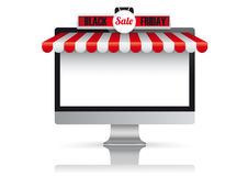 PC Monitor Red White Awning Black Friday Stock Photo