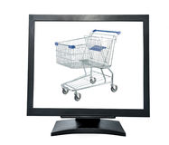 PC monitor with shopping cart Stock Image