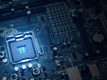 PC motherboard closeup, blue tone Royalty Free Stock Image