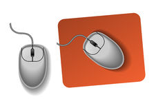The PC mouse. The picture of gray pc mouse on desk royalty free illustration