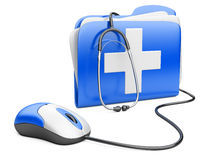 PC mouse with blue folder and white cross Royalty Free Stock Photography