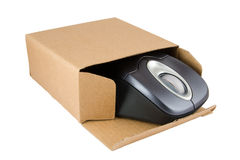 PC Mouse in Cardboard Box Stock Photo