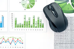 PC mouse on charts Royalty Free Stock Photos