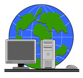PC with mouse and globe. Illustration on internet connectivity to the world royalty free illustration