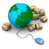 Globe PC-Mouse Packing Case Stock Photos