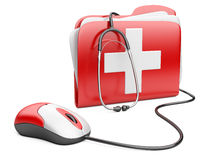 PC mouse with red folder and white cross Royalty Free Stock Photo
