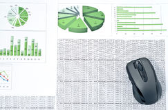 PC mouse on spreadsheets Royalty Free Stock Photo
