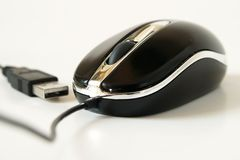 PC Mouse with USB isolated. Over white background stock photos
