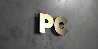 PC:n - guld- tecken som monteras på den glansiga marmorväggen - 3D framförde den fria materielillustrationen för royalty Royaltyfri Illustrationer