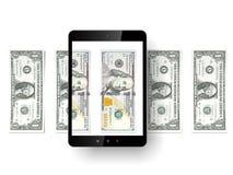PC negra de la tableta con los dólares Foto de archivo