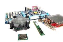 PC parts on white background Royalty Free Stock Photos