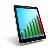 PC preto da tabuleta com gráfico de barra verde do sucesso Imagem de Stock