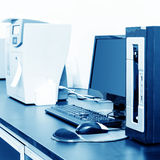 PC and printer. Printer and computers in a modern office royalty free stock photography