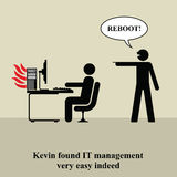 PC problem. IT manager shouting typical reboot to PC problem Stock Illustration