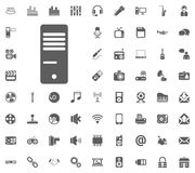 PC processor icon. Media, Music and Communication vector illustration icon set. Set of universal icons. Set of 64 icons.  Royalty Free Stock Photo