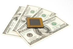 PC processor on  money background Stock Photo