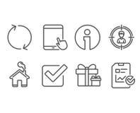 PC régénérez, de Tablette et icônes de recruter des cadres Étonnez les signes de paquet, de liste de contrôle de Checkbox et de r Photos libres de droits