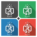 PC reapir flat vector icon on colorful background. simple PC web icons eps8. Stock Image