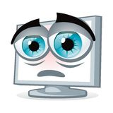 PC sad. Sad and frustrated computer character with pretty eyes stock illustration