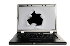 PC Screen hole Stock Image